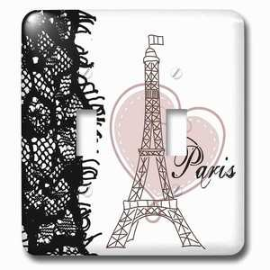 Jazzy Wallplates - Double Toggle Switch Plate With Paris Eiffel Tower With Heart And Black Lace