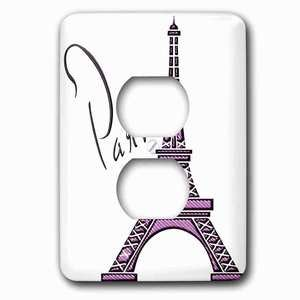 Jazzy Wallplates - Single Duplex Wall Plate With Purple Gel Effect One Dimensional Eiffel Tower With The Word Paris