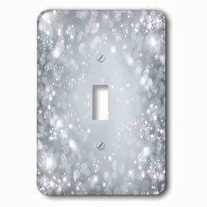 Jazzy Wallplates - Single Toggle Wallplate With White And Gray Sparkle Bokeh With Stars