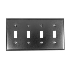 Acorn Hardware - Steel Switchplates - Quadruple Toggle Switchplate in Black