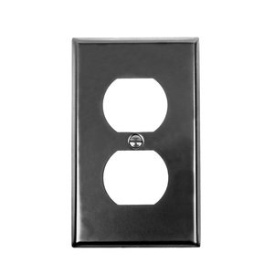 Acorn Hardware - Steel Switchplates - Single Duplex Outlet Switchplate in Black