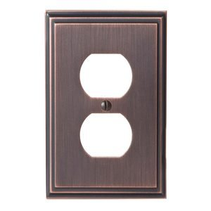 Amerock Decorative Hardware Mulholland Single Outlet Wallplate In Oil Rubbed Bronze