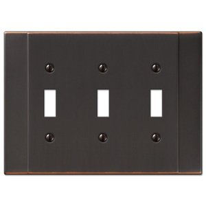 Amerelle Decorative Wallplates - Italia - Triple Toggle Wallplate in Aged Bronze