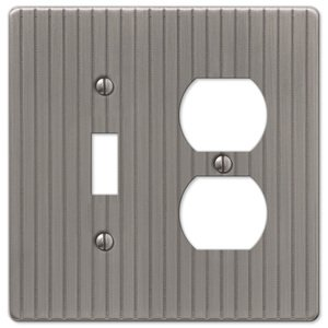 Amerelle Decorative Wallplates - Embossed Line - Single Toggle Single Duplex Combo Wallplate in Antique Nickel