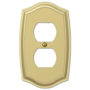 Amerelle Decorative Wallplates - Sonoma - Single Duplex Wallplate in Polished Brass