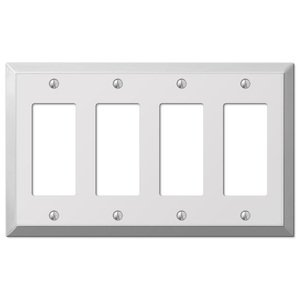 Amerelle Decorative Wallplates - Century - Quadruple Rocker Wallplate in Polished Chrome