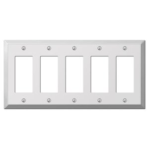 Amerelle Decorative Wallplates - Century - Quintuple Rocker Wallplate in Polished Chrome