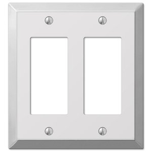 Amerelle Decorative Wallplates - Century - Double Rocker Wallplate in Polished Chrome