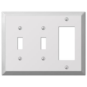 Amerelle Wallplates Century Double Toggle Single Rocker Combo Wallplate In Polished Chrome