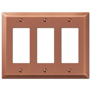 Amerelle Decorative Wallplates - Century - Triple Rocker Wallplate in Antique Copper