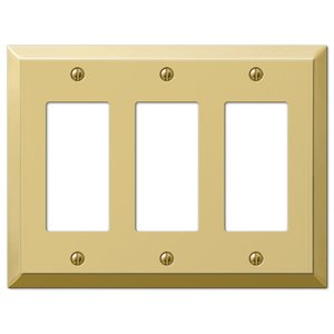 Amerelle Decorative Wallplates - Century - Triple Rocker Wallplate in Polished Brass