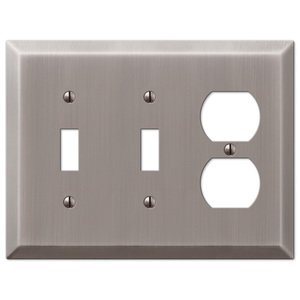 Amerelle Decorative Wallplates - Century - Double Toggle Single Duplex Combo Wallplate in Antique Nickel
