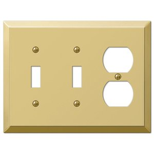Amerelle Decorative Wallplates - Century - Double Toggle Single Duplex Combo Wallplate in Polished Brass