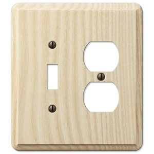 Amerelle Decorative Wallplates - Contemporary - Single Toggle Single Duplex Combo Wallplate in Unfinished Ash Wood
