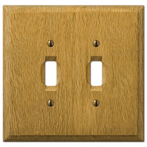 Amerelle Decorative Wallplates - Carson - Wood Double Toggle Wallplate in Light Oak