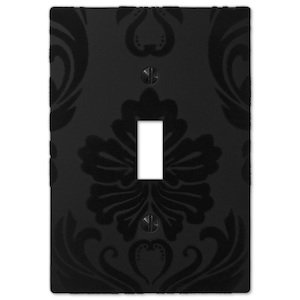 Amerelle Decorative Wallplates - Damask - Single Toggle Wallplate in Black