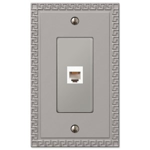 Amerelle Decorative Wallplates - Greek Key - Single Phone Wallplate in Satin Nickel