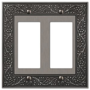 Amerelle Decorative Wallplates - English Garden - Double Rocker Wallplate in Antique Nickel