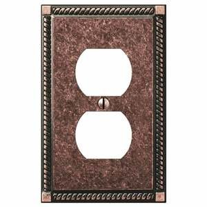 Amerelle Decorative Wallplates - Gregorian - Single Duplex Wallplate in Tumbled Aged Bronze