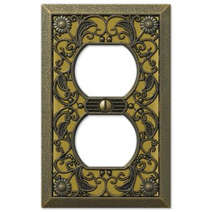 amerelle decorative wallplates filigree single duplex wallplate in antique brass