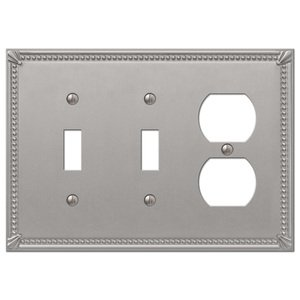 Amerelle Decorative Wallplates - Imperial Beaded - Double Toggle Single Duplex Combo Wallplate in Brushed Nickel