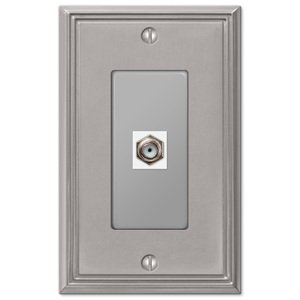 Amerelle Decorative Wallplates - Metro Line - Single Cable Wallplate in Brushed Nickel