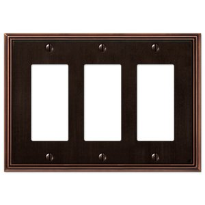 Amerelle Decorative Wallplates - Metro Line - Triple Rocker Wallplate in Aged Bronze