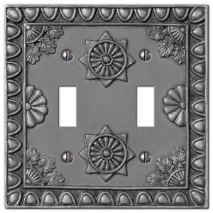 Amerelle Decorative Wallplates - Amiens - Resin Double Toggle Wallplate in Antique Pewter