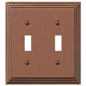Amerelle Decorative Wallplates - Steps - Double Toggle Wallplate in Antique Copper