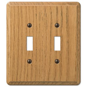 Amerelle Decorative Wallplates - Contemporary - Wood Double Toggle Wallplate in Light Oak