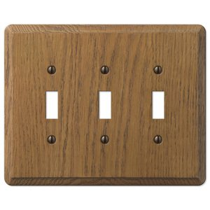Amerelle Decorative Wallplates - Contemporary - Wood Triple Toggle Wallplate in Medium Oak