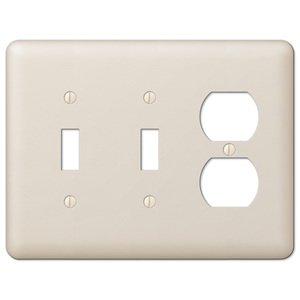 amerelle decorative wallplates devon double toggle single duplex combo wallplate in light almond