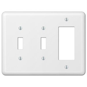 Amerelle Decorative Wallplates - Devon - Double Toggle Single Rocker Combo Wallplate in White