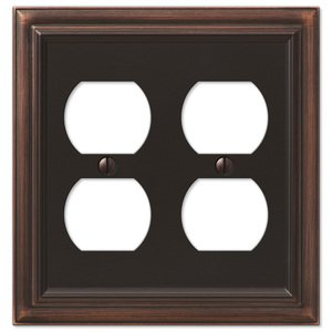 Amerelle Decorative Wallplates - Continental - Double Duplex Wallplate in Aged Bronze