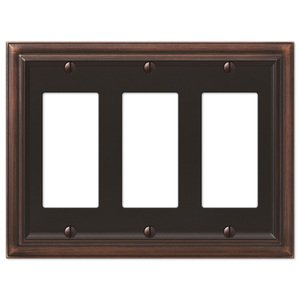 Amerelle Decorative Wallplates - Continental - Triple Rocker Wallplate in Aged Bronze