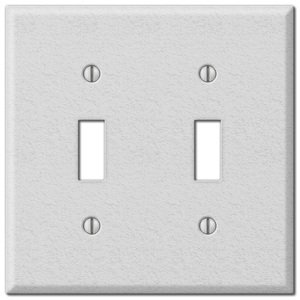 Amerelle Decorative Wallplates - Contractor - Double Toggle Wallplate in White Wrinkle