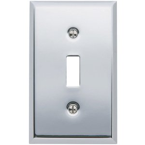Baldwin Hardware - Single Toggle Beveled Edge Switchplate in Polished Chrome