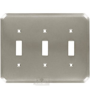 Colonial Bronze Deco Triple Toggle Switchplate in Satin Nickel
