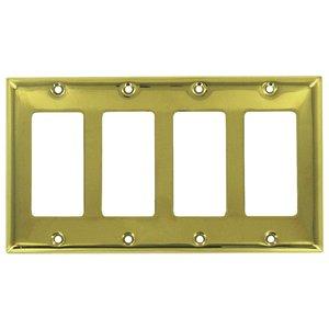 Deltana Hardware - Solid Brass Switchplates - Solid Brass Quadruple Rocker  Switchplate in Polished Brass