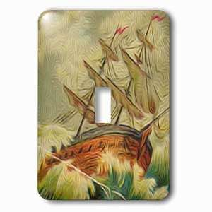 Jazzy Wallplates - Single Toggle Wallplate with Vintage Boat On Rough Waters At Sea Nautical Illustration