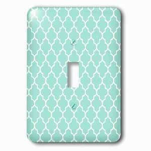 Jazzy Wallplates - Single Toggle Wallplate with Mint quatrefoil pattern light teal turquoise Moroccan tiles Pastel aqua blue clover lattice