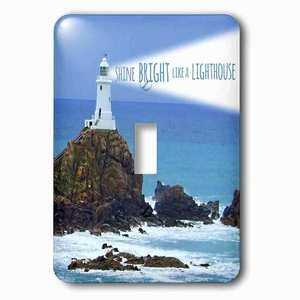 Jazzy Wallplates - Single Toggle Wallplate with Shine bright like a lighthouse inspiring motivational motivating nautical word saying light house