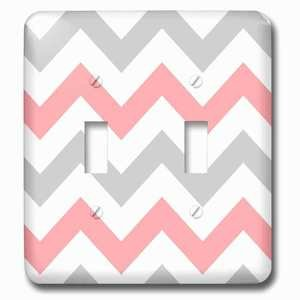 Jazzy Wallplates - Double Toggle Wallplate with Coral and Gray Chevron zig zag pattern orange pink grey zigzags