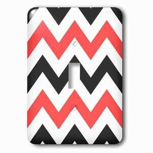 Jazzy Wallplates - Single Toggle Wallplate with Red and Black Chevron zig zag pattern large white big zigzag stripes