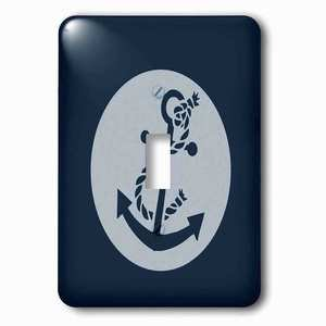Jazzy Wallplates - Single Toggle Wallplate with Nautical Navy Blue Anchor