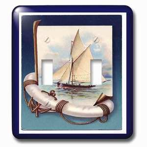 Jazzy Wallplates - Double Toggle Wallplate with Vintage Sailboat n Anchor With Navy Blue Frame