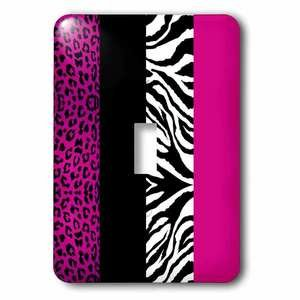 Jazzy Wallplates - Single Toggle Wallplate With Pink Black And White Leopard And Zebra Print