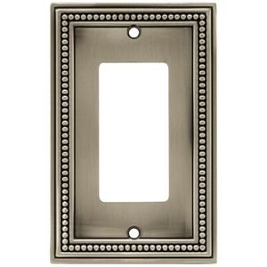 Liberty Kitchen Cabinet Hardware - Beaded Single GFI/Rocker in Brushed Satin Pewter