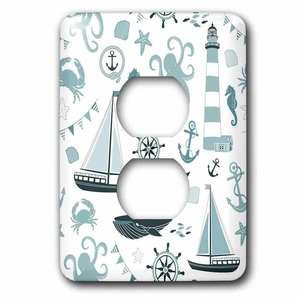 Jazzy Wallplates - Single Duplex Switchplate With Blue And White Nautical Octopus, Boat, Anchor