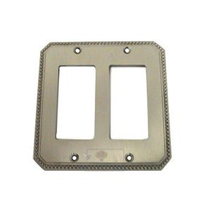 Omnia Switchplates Beaded Double Rocker Cutout Switchplate in Satin Nickel